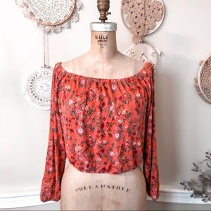 Off the shoulder floral jersey blouse